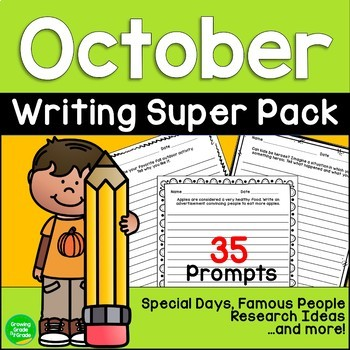 October Writing Super Pack Special Days Famous People Story Starters and More