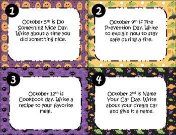 October Writing Task Cards