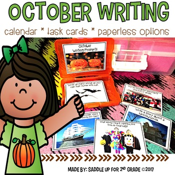 October Writing: Task Cards,Calendar, and Full Page Paperless with Real Photos