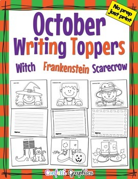 October Writing Toppers Halloween Witch, Frankenstein, Sca
