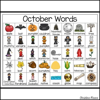 October - Writing Words