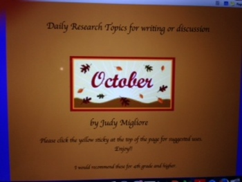 October Writing or Research Topic Promethean Board Flipchart