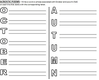 October and Autumn (Fall) Writing - sensory details, poems, writing (worksheets)
