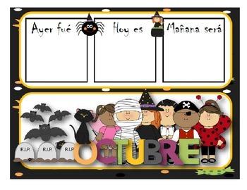 October calendar flash cards