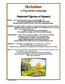 Figurative Language for October:  Simile, Metaphor, Hyperbole, Idiom. . .