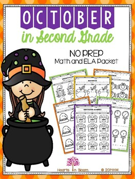 October in Second Grade (NO PREP Math and ELA Packet)