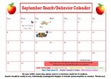 September snack/behavior calendar