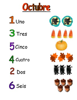 October themed Spanish counting activity