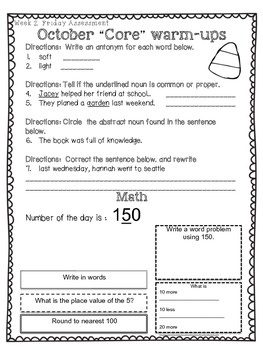 """October to the """"Core"""" Morning Warm-Ups Language Arts and Math Activities"""