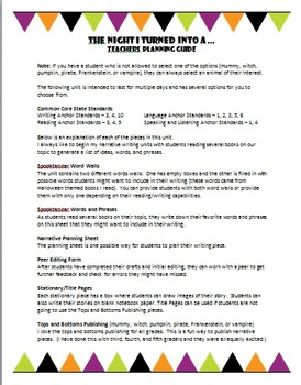 3-5 October/Halloween Narrative Writing Activity with ELA Common Core Standards
