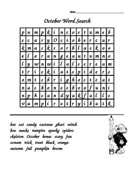 October/Halloween Word Search