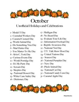 October's Unofficial Holidays and Celebrations: Daily Info & Activities