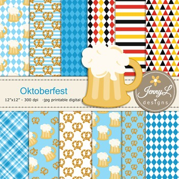 Octokerfest Digital papers and Beer clipart