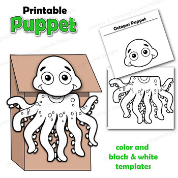 photo relating to Free Printable Paper Bag Puppet Templates called Octopus Craft Recreation Printable Paper Bag Puppet Template
