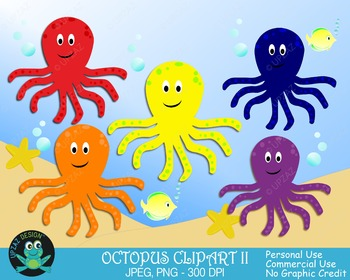Octopus Primary Colors {Upzaz Digital Clipart}