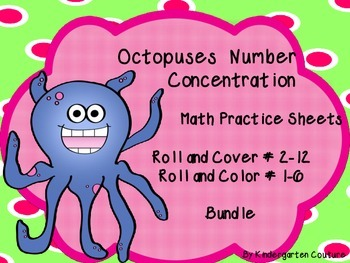 Octopus Math Practice Sheets, Concentration, Roll and Cover Bundle