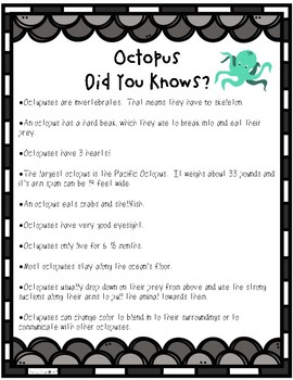 Octopus Math and Literacy Activities