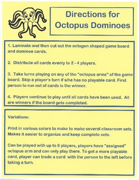 Octopus Multiplication Game