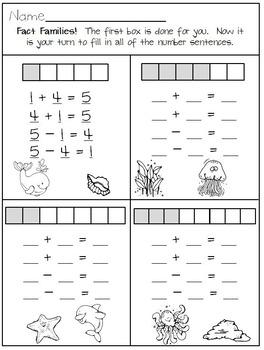 Octopus, Octopus for Kindergarten * Booklets * Alphabet Order * Fact Families