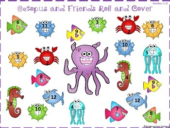Octopus and Friends Roll and Cover and Roll and Color