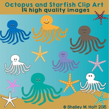 Octopus and Starfish Clipart