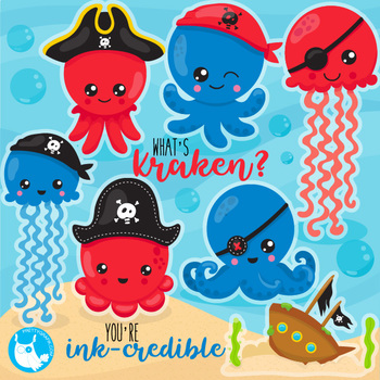 Octopus pirates clipart commercial use, vector graphics  - CL1074