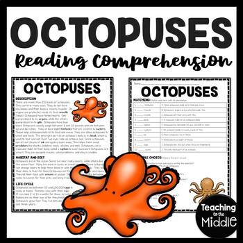 Octopuses Reading Comprehension; Ocean Creatures; Summer; Octopus; Ink