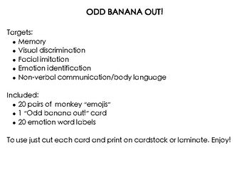 Odd Banana Out! Emotion identification, Imitation skills, Visual Discrimination