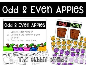 Odd & Even Apples Math Center Freebie
