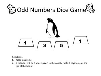 Penguin Odd Numbers Dice Game