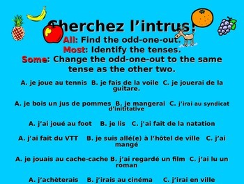 French Teaching Resources. Odd One Out Activity with Mini-