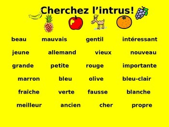French Teaching Resources. Odd One Out Adjectives Warmer/