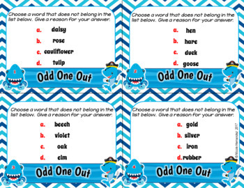 Odd One Out Task Cards