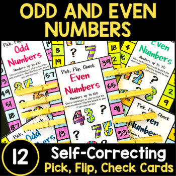 Odd and Even Numbers Pick, Flip Check Cards and Posters
