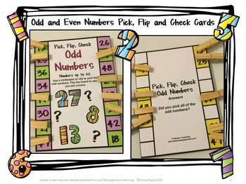 Odd and Even Numbers Free Clip Cards and Odd and Even Posters