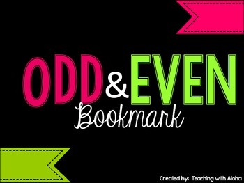 Odd and Even Number Bookmark FREEBIE