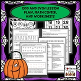 Odd and Even Center and Worksheets for Halloween