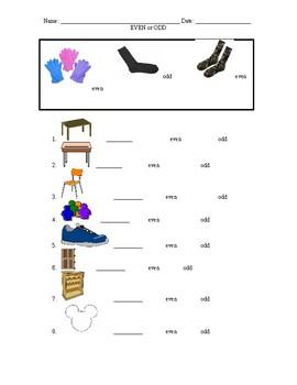 Odd and Even Classroom Scavenger Hunt Worksheet