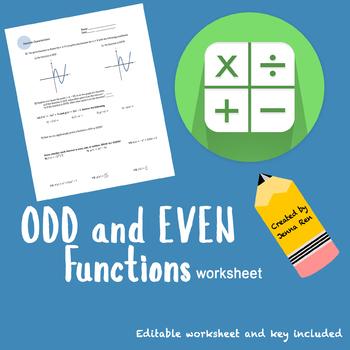 Odd And Even Functions Worksheet By Jenna Ren Teachers Pay Teachers