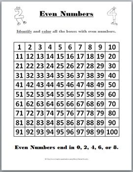 Odd and Even Number Charts and Student Worksheets by Marcia Murphy