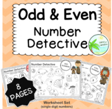 Odd and Even Number worksheets (8 page pack. 1-digit numbers)