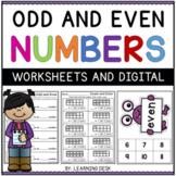 Odd and Even Numbers Worksheets Google Slides Kindergarten First Grade