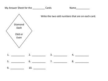 Odd and Even Numbers--5 centers and 5 worksheets