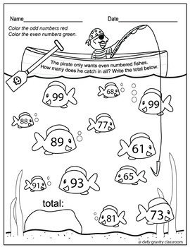 Odd and Even Numbers Color Worksheet - Prep Free - 1st & 2nd Grade