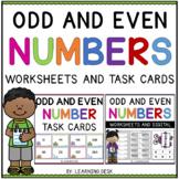Odd and Even Numbers Worksheets Task Cards Kindergarten First Grade