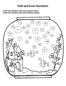 odd and even numbers fun fish tank worksheet by kelly connors tpt. Black Bedroom Furniture Sets. Home Design Ideas
