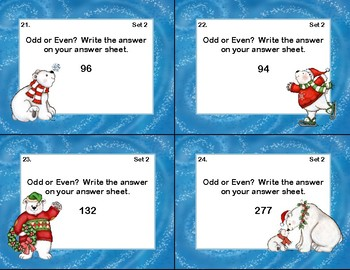 Odd and Even Numbers-Math Task Cards- Grade 2- Polar Bears