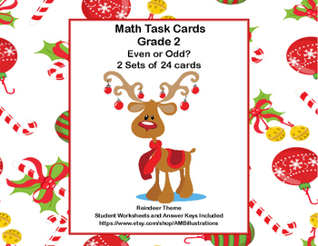 Odd and Even Numbers-Math Task Cards- Grade 2-Reindeer Theme