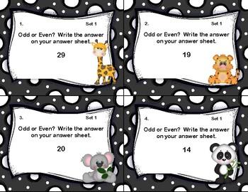 Odd and Even Numbers-Math Task Cards- Grade 2- Safari Animals