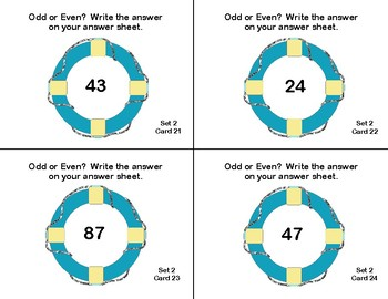Odd and Even Numbers-Math Task Cards- Grade 2-Sailing